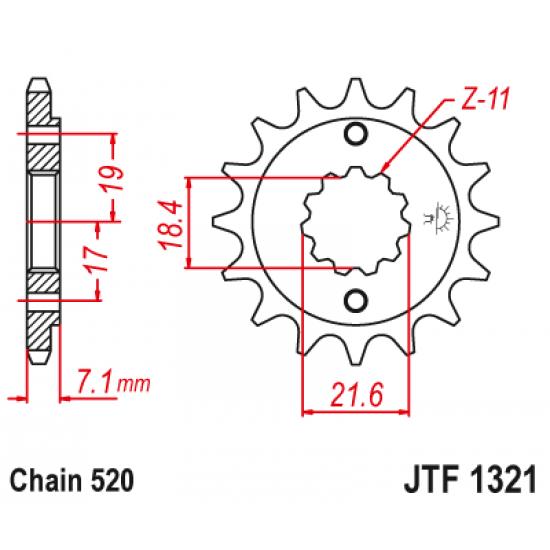 Pinion JT (fata) JTF1321  13 dinti - CBF250/XR250R
