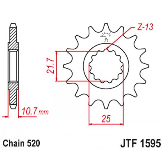 Pinion JT (fata) JTF1595  16 dinti - XJ6 Diversion '09-