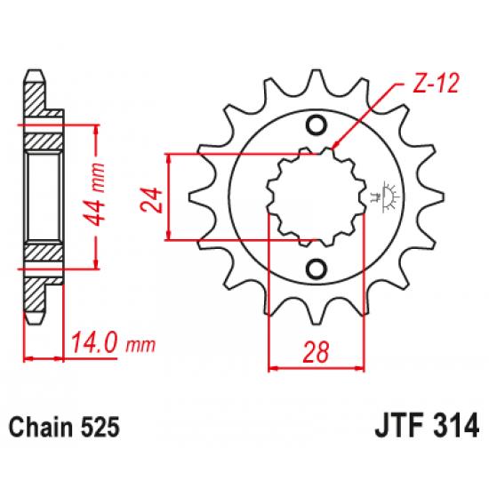 Pinion JT (fata) JTF314RB (garnitura cauciuc)  16 dinti - XRV750 Africa Twin '90-03