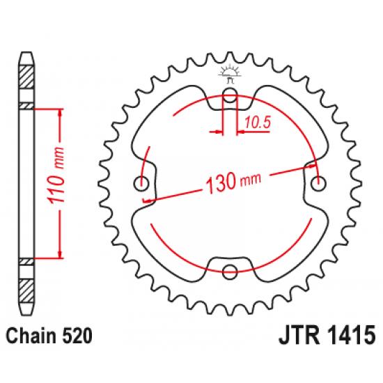 Pinion JT (spate) JTR1415 38 dinti - Kawasaki KFX450 (KSF)