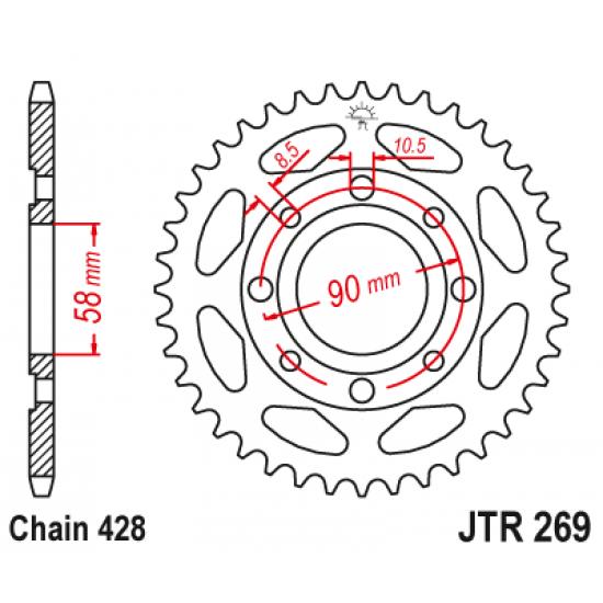 Pinion JT (spate) JTR269 45 dinti - Daelim / Kymco