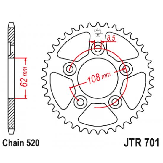 Pinion JT (spate) JTR701 43 dinti - Cagiva Raptor 125 '04-
