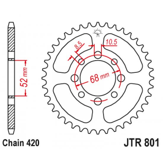 Pinion JT (spate) JTR801 38 dinti - RV 50 orig.